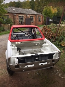 VW MK1 Golf front during restoration.