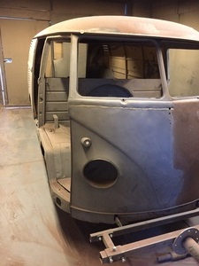 VW Camper Van side after shot blasting.