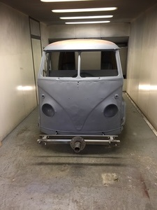 VW Camper Van front after shot blasting.